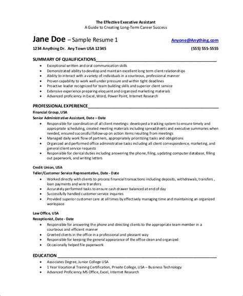 Exle Of A Assistant Resume by Sle Executive Assistant Resume 8 Exles In Word Pdf