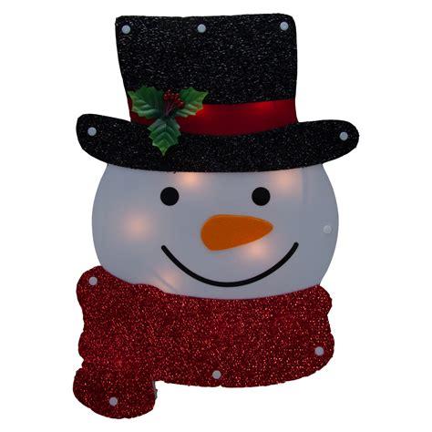 lighted holiday santa  snowman winter wallwindow hanger