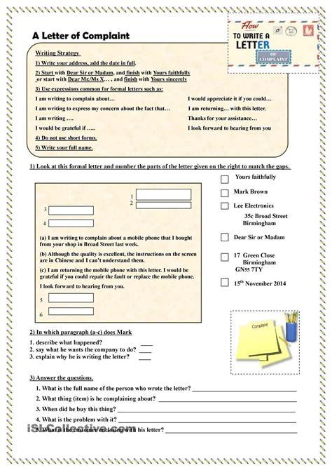write  letter  complaint esl formal letter