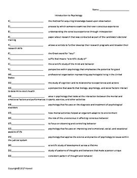 Introduction To Psychology Quiz Or Worksheet By Everything Science And Beyond