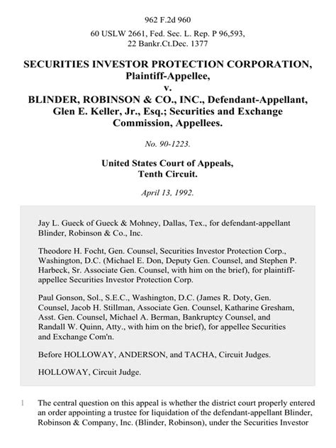 Click here to learn more. Securities Investor Protection Corporation v. Blinder, Robinson & Co., Inc., Glen E. Keller, Jr ...