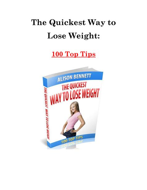 The Quickest Way To Lose Weight 100 Top Tips Authorstream