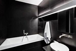 Black bathroom tjihome for Black and white modern bathroom