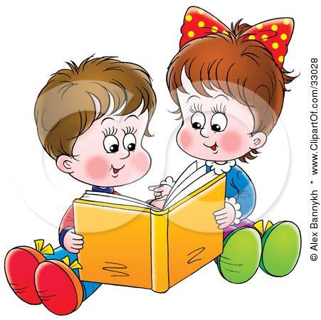 children reading together clipart children reading books together