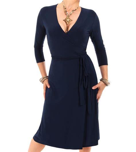 navy blue elegant wrap dress