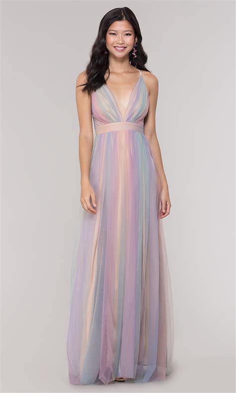 Pastel Long V-Neck Open-Back Prom Dress - PromGirl