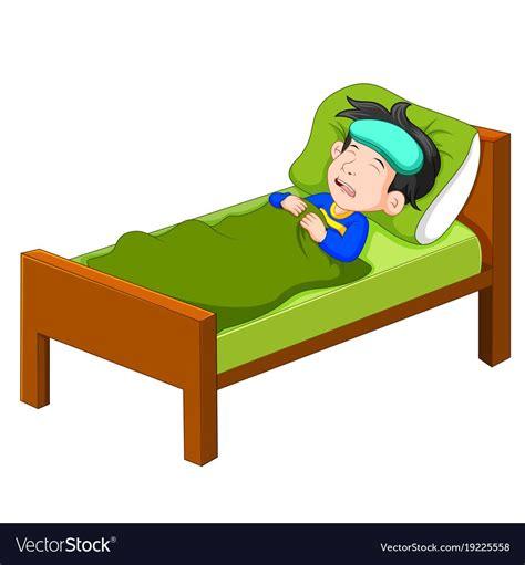 sick kid lying  bed royalty  vector image