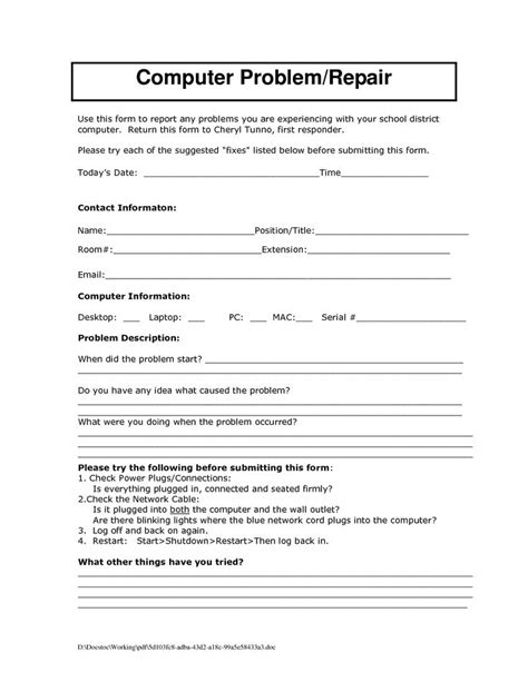 Computer Repair Form Template | charlotte clergy coalition