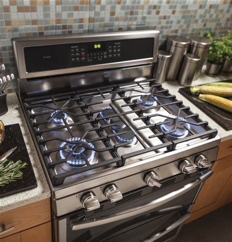 ge pgbzejss   freestanding double oven gas range   sealed burners  cu ft