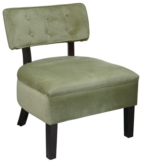 avenue six button back living room armless accent chair
