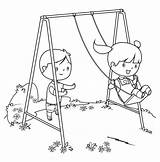 Swing Coloring Playing Children Porch Clip Illustrations Vector Illustration Field sketch template