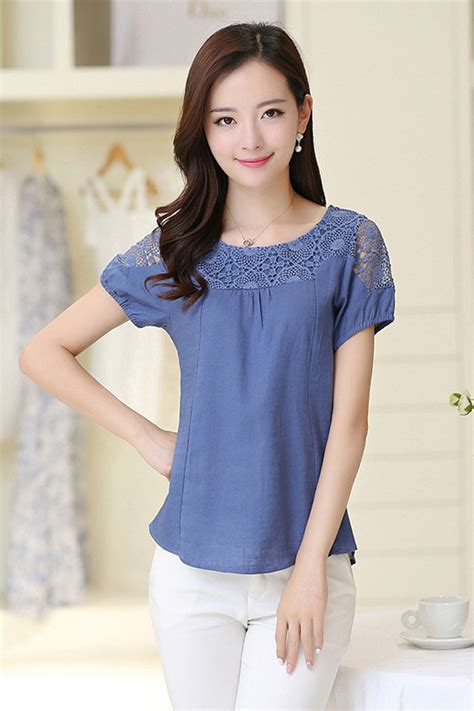 tomcarry women summer casual wear lace blouse blue tomcarry