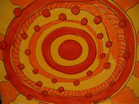 Orange Abstract Sun Painting by Dotti Hannum