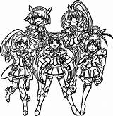 Glitter Force Team Coloring Pages sketch template