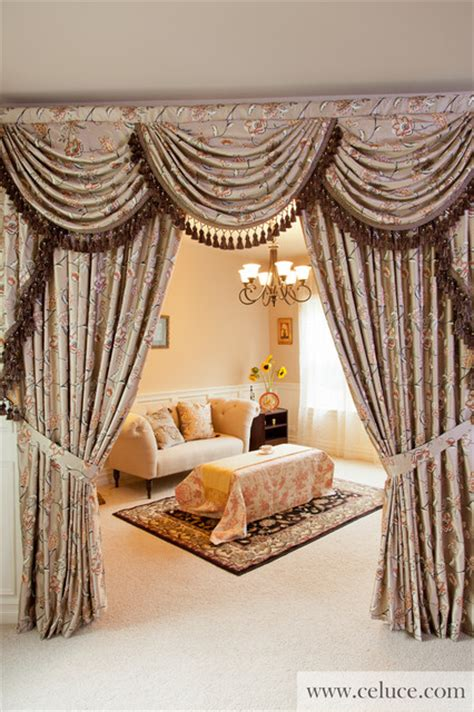 designer valance curtains with swags and tails by celuce