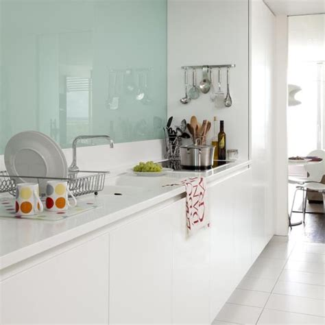 kitchen splashback ideas kitchen with modern glass splash back in a galley kitchen