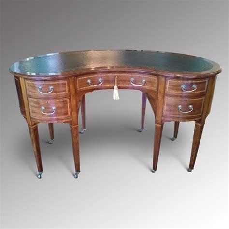 kidney shaped desk edwardian inlaid mahogany kidney shaped desk antiques atlas