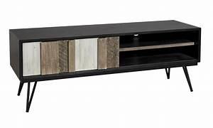 Meuble Tv Noir : meuble tv noir en verre id es de d coration int rieure french decor ~ Teatrodelosmanantiales.com Idées de Décoration