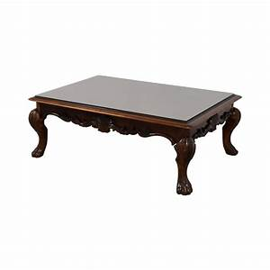 75 off rectangular carved wood coffee table with glass With carved coffee table glass top