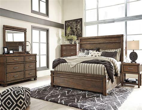 leystone dark brown panel bedroom set  ashley coleman furniture