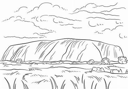 Coloring Uluru Pages Australia Rock Ayers Template