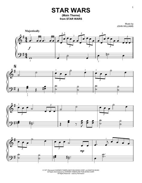star wars main theme sheet music by john williams easy