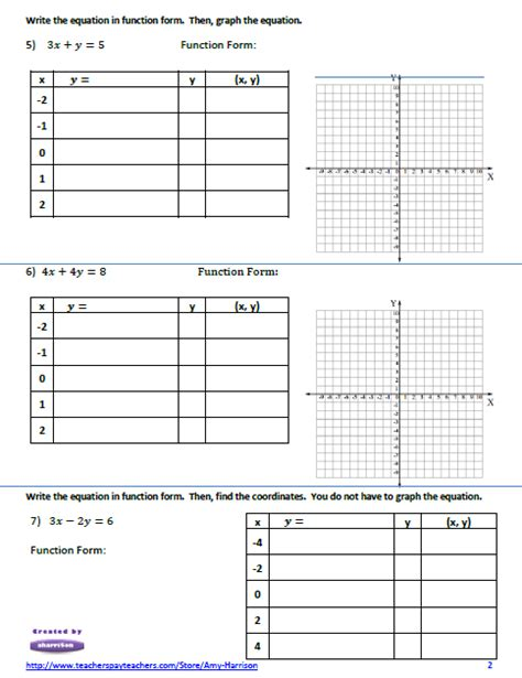 linear equations worksheet create  table  values