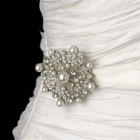 Wedding Sash Bridal Belt with Silver Pearl & Crystal