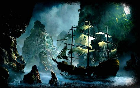 ghost pirate ship backgrounds long wallpapers