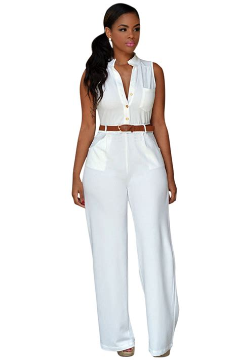 black plain belt half womens sleeveless belted wide leg jumpsuit white