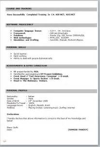 resume format in word india it fresher resume format in word