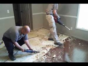 removing glued down wood floor from concrete youtube With how to remove glued hardwood floor