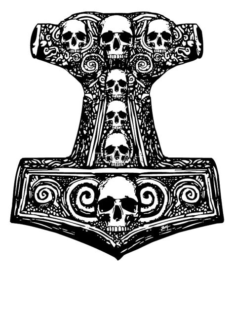 """""""Thors Hammer Black"""" Stickers by ZugArt 