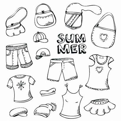 Coloring Clothes Summer Pages Winter Drawing Printable