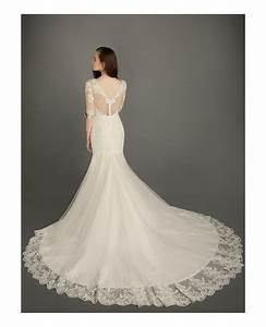 modest mermaid v neck chapel train tulle wedding dress With chapel train wedding dress