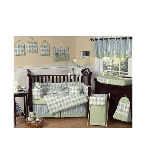 sweet jojo designs argyle green blue 9 piece crib