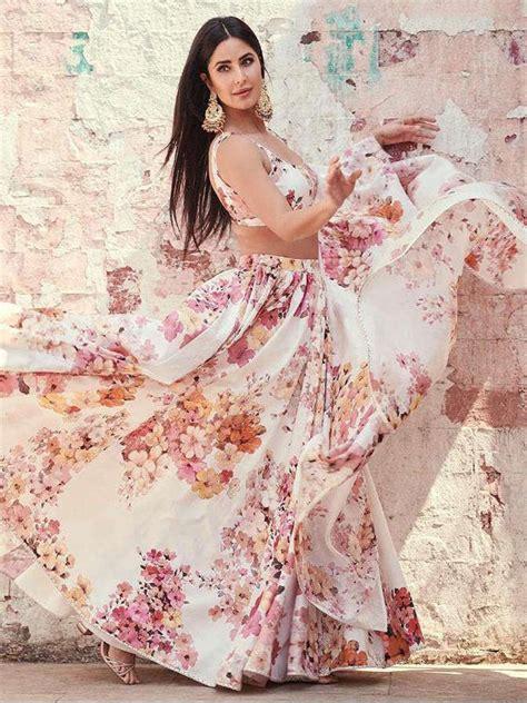 buy katrina kaif beige floral georgette party wear lehenga