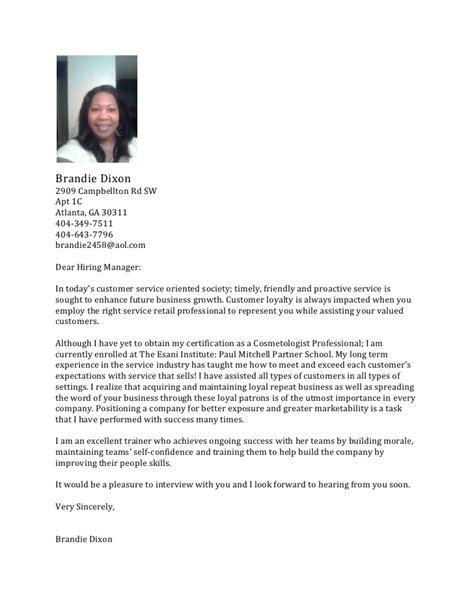 Esthetician Cover Letter Sle by Salon Cover Letter