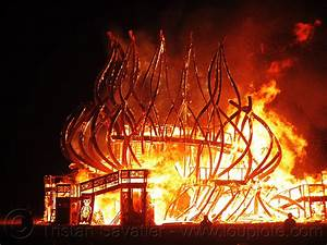 burning man, temple collapsing in fire
