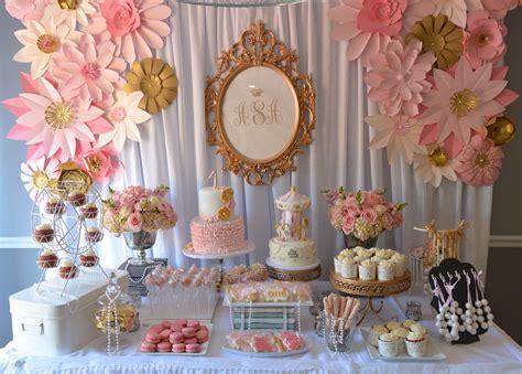 vintage pink gold dessert table by designs by oochay floral event design dessert tables