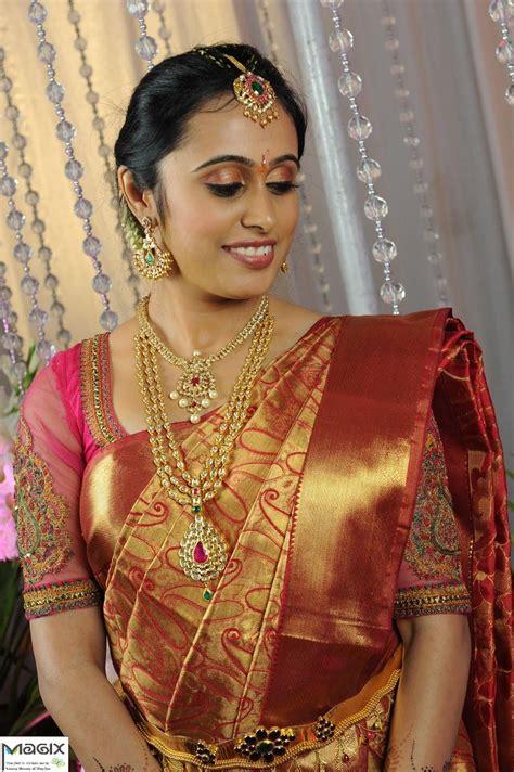 south indian wearing kundan set makeover by magixspa