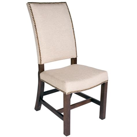 high back fabric chair with nail heads