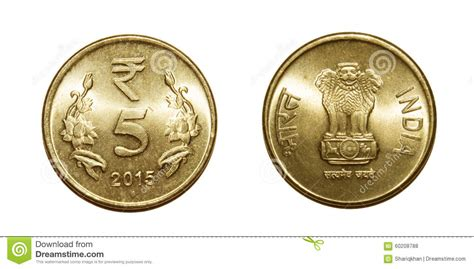 Five Rupees Currency Coin Stock Photo Image Of Five