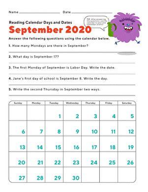 september  day  date worksheet educationcom