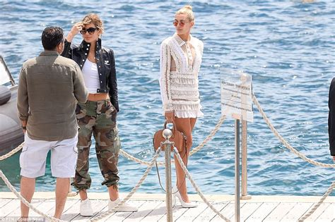 Hailey Baldwin poses in swimsuit during busy day in Cannes ...