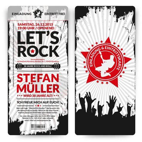 rock  roll geburtstagseinladung konzertticket