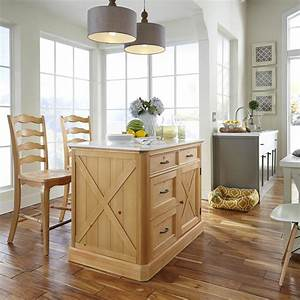 Home Styles Country Lodge Pine Kitchen Island with Quartz
