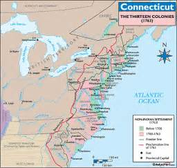 13 colonies map labeled with cities and rivers