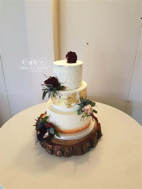 white rose cake design naked  semi naked wedding