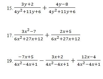adding  subtracting rational expressions worksheet